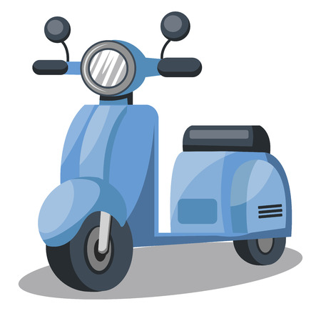 Vector illustration of light blue scooter  on white background.