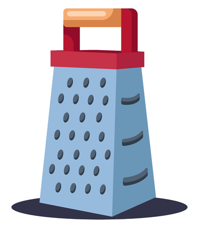 A Kitchen grater for grating any kind of food items like paneer carrot beetroot etc. vector color drawing or illustration.