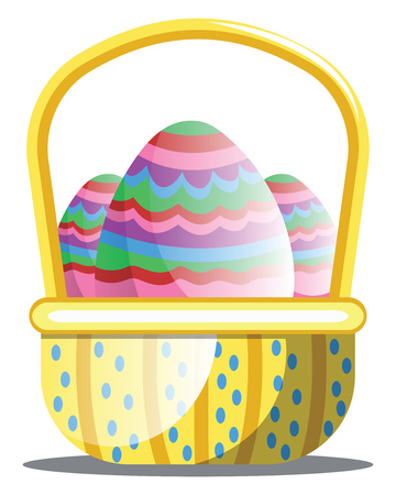 Basket full of colorful Easter eggs with pattern web vector on white background Illusztráció