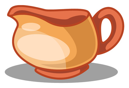 A Ceramic Coffee cup in orange color with white dot, vector, color drawing or illustration.