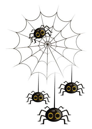 Four black cute cartoon spiders in a spiderweb vector illustration on white background.