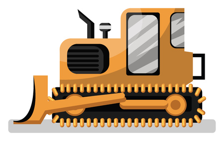 Cartoon style yellow loader vector illustration on white background. Illusztráció