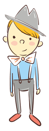 A boy in a gray colored hat with rosy cheeks wearing a blue shirt, bow tie and a gray jumper pants, cartoon, vector, color drawing or illustration.