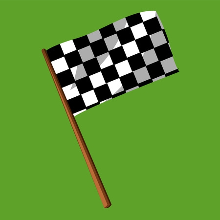 A Flag to tick designed in black and white checks pattern vector color drawing or illustration. Stock Illustratie