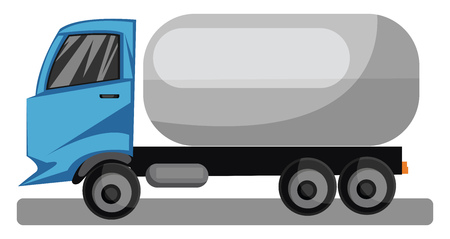 Blue truck with grey tanker vector illustration on white background.