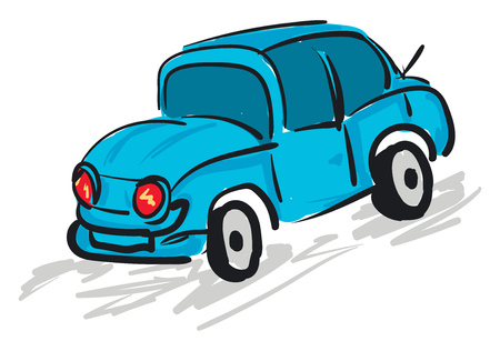 A blue car with red headlights, vector, color drawing or illustration.