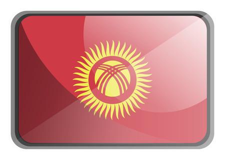 Vector illustration of Kyrgyzstan flag on white background. Illustration