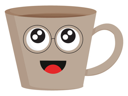 Light brown smiling coffee cup with eye glasses vector illustration on white background. Illustration