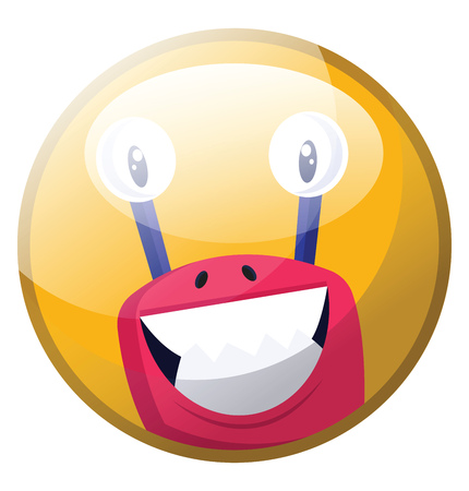 Cartoon character of a pink monster with big teeth smiling vector illustration in yellow circle on white background.