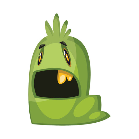 Supprissed green worm looking monster illustration on white background vector illustration. Illustration