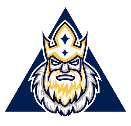 A Warrior face with crown in a blue triangle with yellow beard, vector, color drawing or illustration.