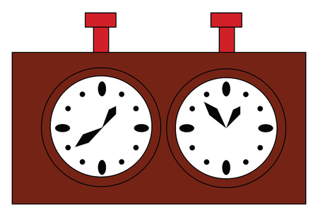 Simple vector illustration of a brown chess clock on white background.