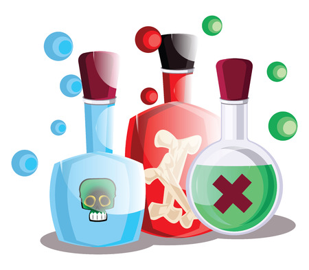 Blue red and green poison halloween bottles vector illustration on white background. Illusztráció