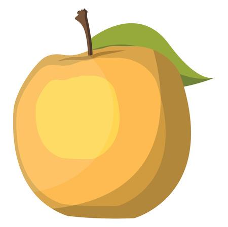 Yellow apple with  green leaf cartoon fruit vector illustration on white background. Ilustracja