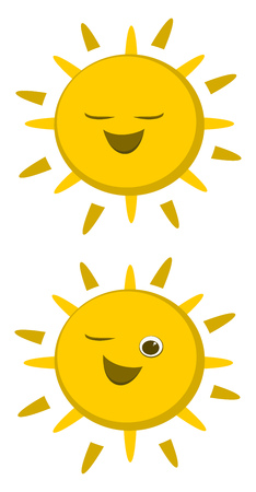 Two yellow suns out of which one with closed eyes and other one with one eye opened and one eye closed vector color drawing or illustration.