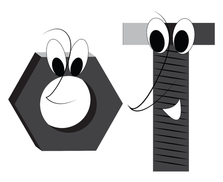 A happy bolt and nut with big eyes, cartoon, vector, color drawing or illustration.