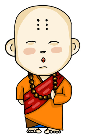 A Buddhist monk of Tibetan or Chinese descent vector color drawing or illustration