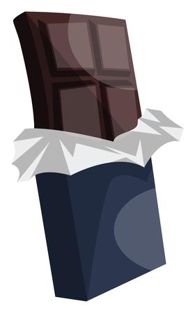 Dark chocolate in dark blue wrap paper vector illustration on white background.