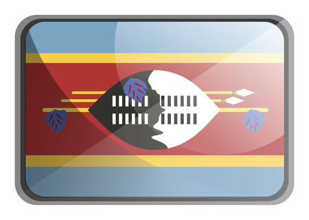 Vector illustration of Swaziland flag on white background.