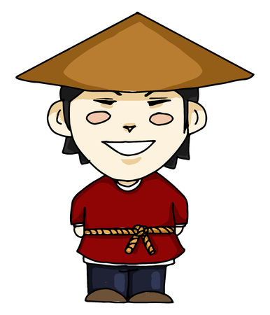 529559e78a661 A farmer wearing a hat referred as peasant in Chinese vector color drawing  or illustration