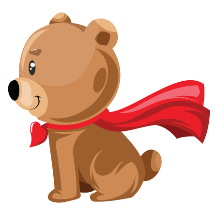 Light brown bear sitting with a red cape vector illustration on white background. Ilustrace