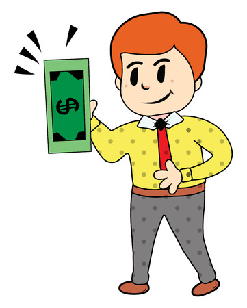 A businessman with brown hair in yellow shirt red tie grey pant is holding green dollar bill in his hand vector color drawing or illustration