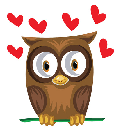 Brown owl in a green branch with red hearts vector illustration on white background. Illustration