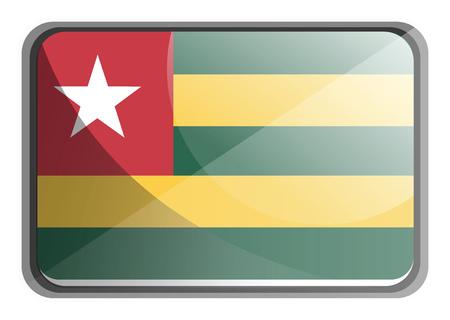 Vector illustration of Togo flag on white background.