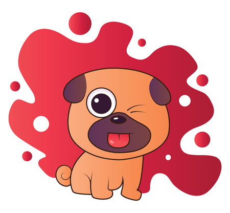 Brown and purple puppy sticking out his tounge vector illistration in red blob on white background.
