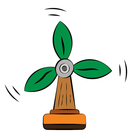 A tree of windmill shape with three arms which looks green leaves depicting air as source of renewable energy vector color drawing or illustration Illusztráció