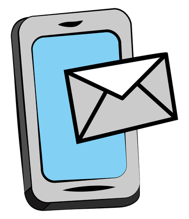 A sign of letter or envelope over a cellphone screen is depicting image of an incoming or outgoing email communication vector color drawing or illustration