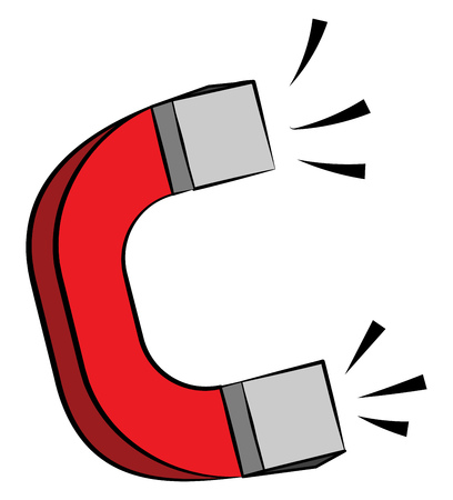 A red horseshoe shaped magnet is depicting its powerful magnetic field or power vector color drawing or illustration Stock Vector - 123449252