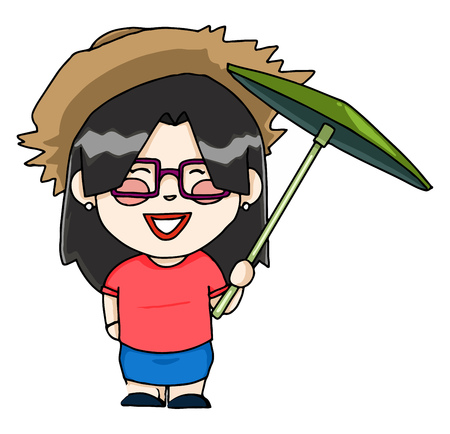 An Asian tourist with umbrella and sunglasses vector color drawing or illustration