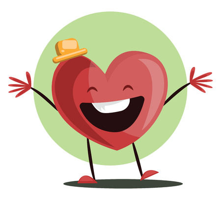 Big red heart witha yellow hat laughing with arms wide open vector illustrtation in light green circle on white background.