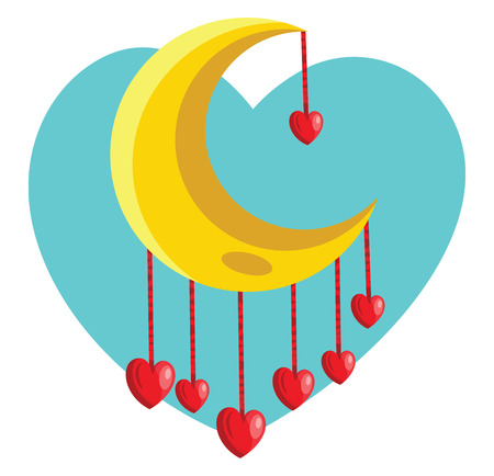 Red hearts hanging from yellow new moon vector illustration in a tourqoise heart on white background.
