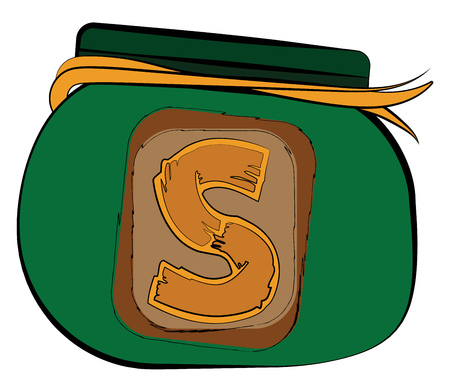 A round shaped green purse with yellow ribbon and a coin sign in the front of the bag vector color drawing or illustration