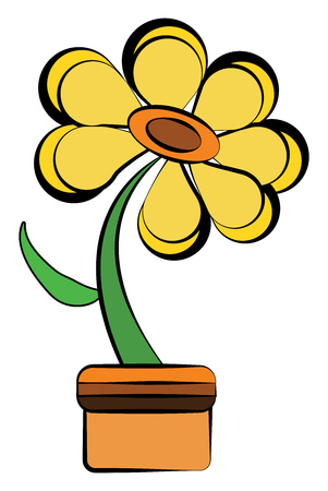 A bright yellow marguerite daisy flower with green leaf on a brown pot vector color drawing or illustration
