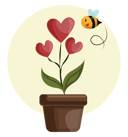 House plant with hearts in stead of flowers grren leafs and flying bee vector illustration on white background. Illustration