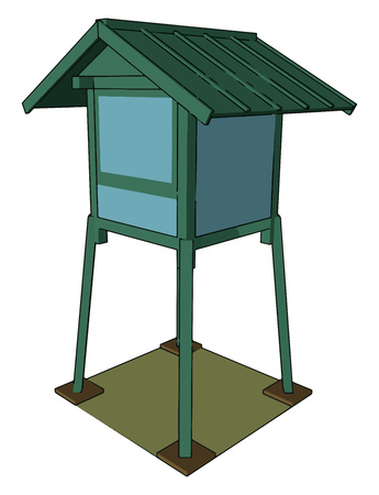A hunting tower mainly made up of wood sometimes concrete also This type of structure used for hunting activities vector color drawing or illustration