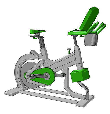 A indoor exercise bicycle for complete wellness reduces physical and mental stress of human and increases concentration of mind vector color drawing or illustration
