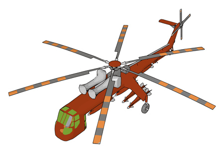 A helicopter is a type of aircraft or rotorcraft in which lift and thrust are supplied by rotors This allows the helicopter to take off and land vertically to hover and to fly forward backward and laterally vector color drawing or illustration