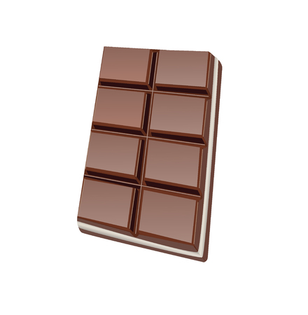 Two in one chocolate bar with layer of milk chocolate in between vector color drawing or illustration