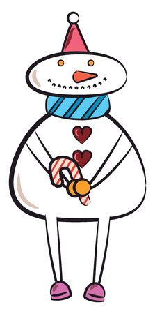 A snowman with blue scarf pink socks is holding sugar candy stick in hand vector color drawing or illustration Çizim