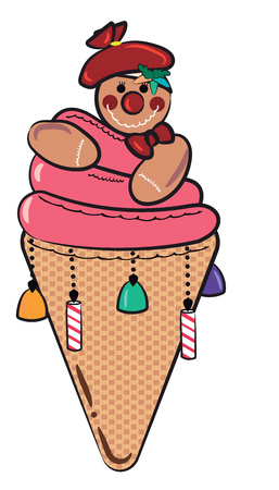 A sweet treat decorated in the shape of ice-cream cone & cookie man over it vector color drawing or illustration