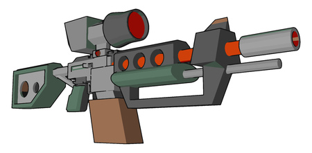 Gun is type of weapon used for kill or destroy enemy It is also used for defense purpose It is has a trigger to operate loaded with bullet vector color drawing or illustration