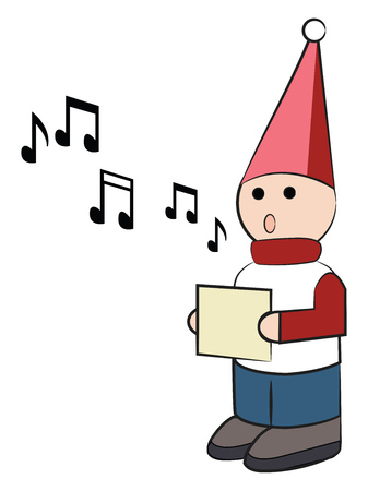 A wooden doll dressed up in red hat is singing Christmas carols vector color drawing or illustration