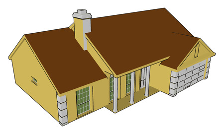 This V shaped roof house are found in snow fall area Chimney installed in the hose will help in increasing temperature vector color drawing or illustration