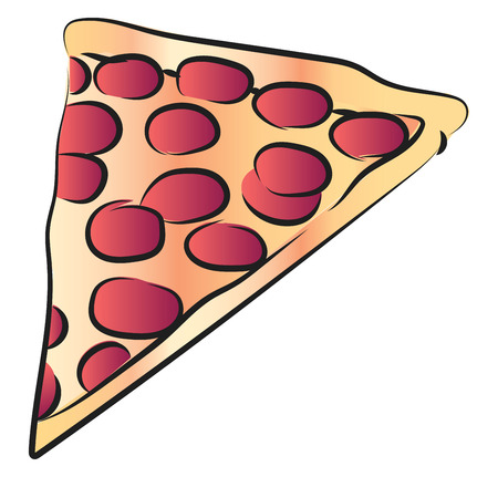 A slice of pizza with cheese & pepperoni or other meat toppings vector color drawing or illustration