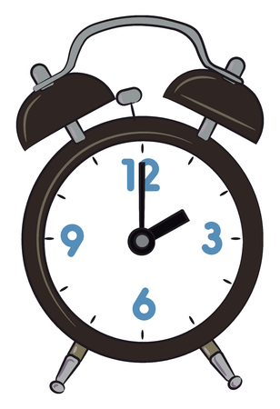 A table alarm clock with time showing 2 Oclock vector color drawing or illustration