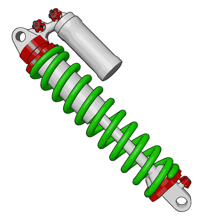 A bike suspension contribute to the handling braking and providing safety and comfort by isolating passenger of bike from road noise bumps and vibrations vector color drawing or illustration